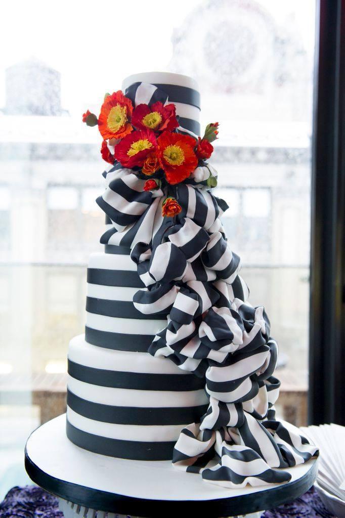 Black and white striped
