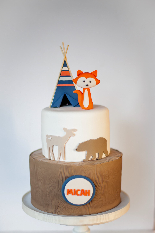 Woodland Fox Birthday Cake