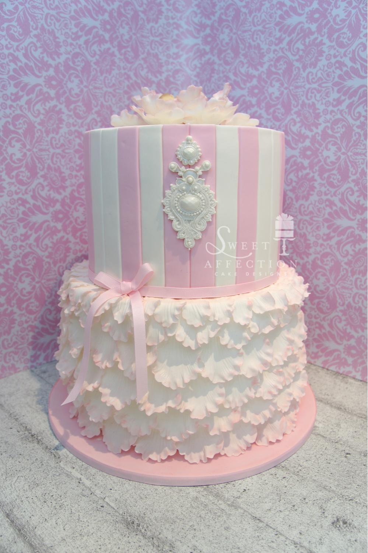 Pink and white ruffle birthday