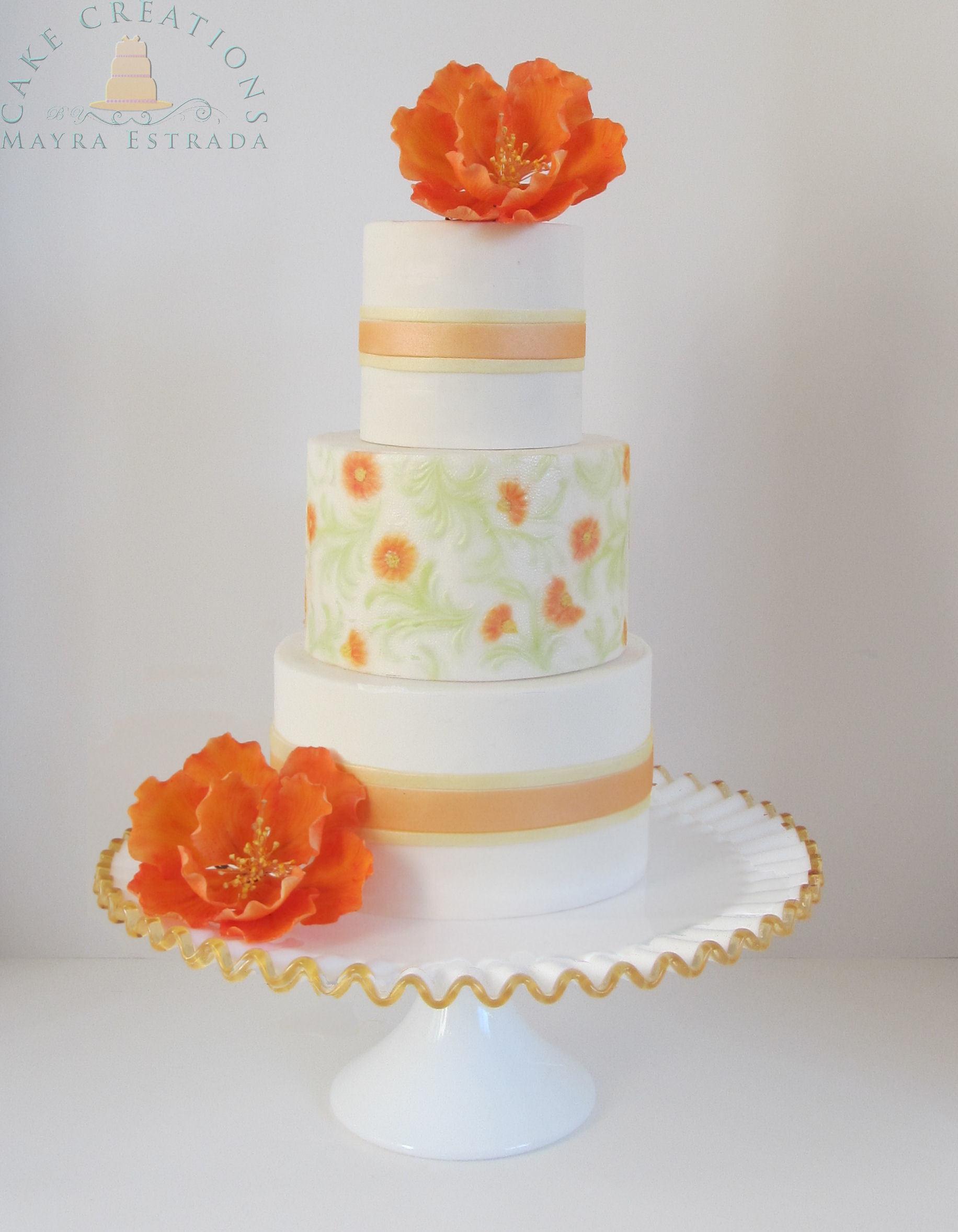 White with Orange sugarflowers