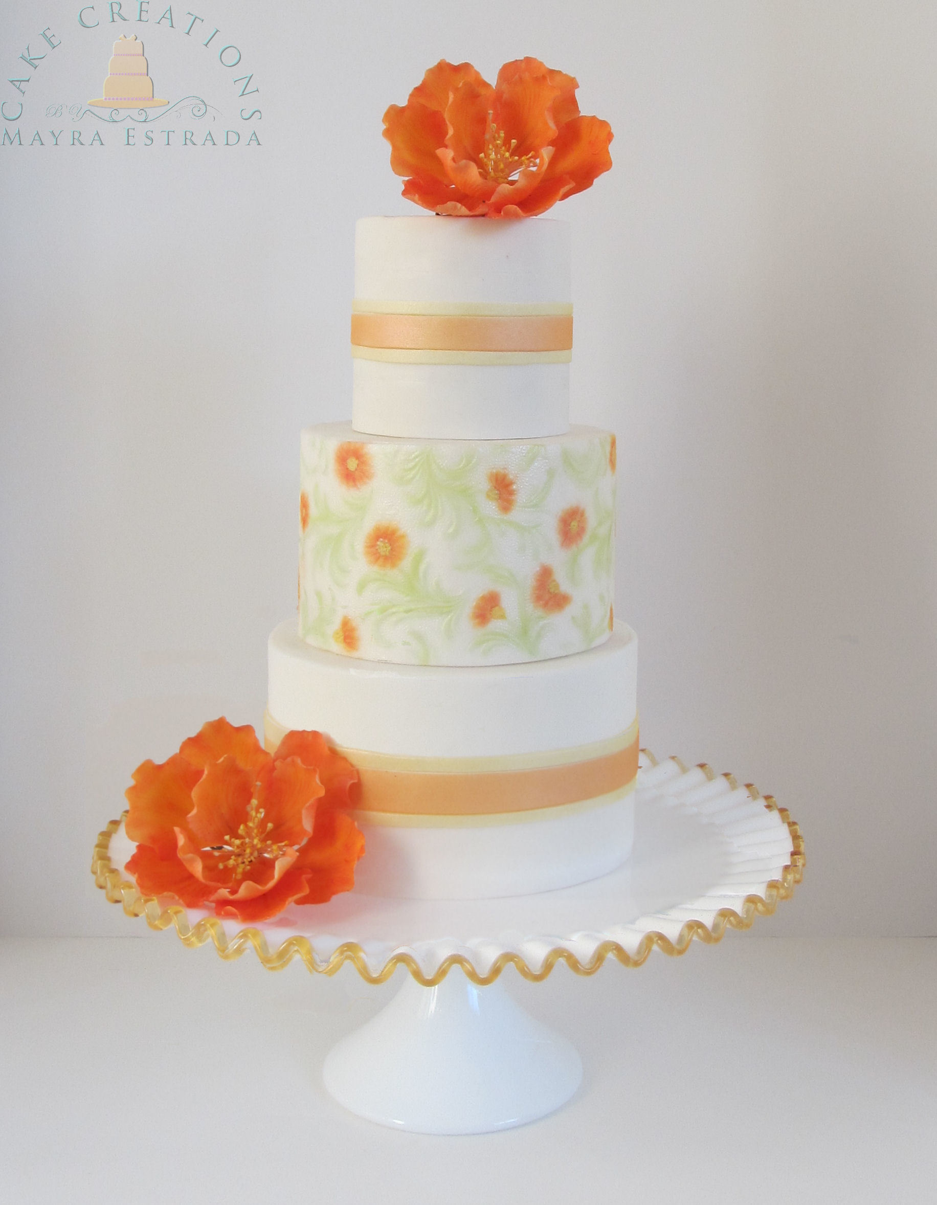 White with Orange sugarflowers