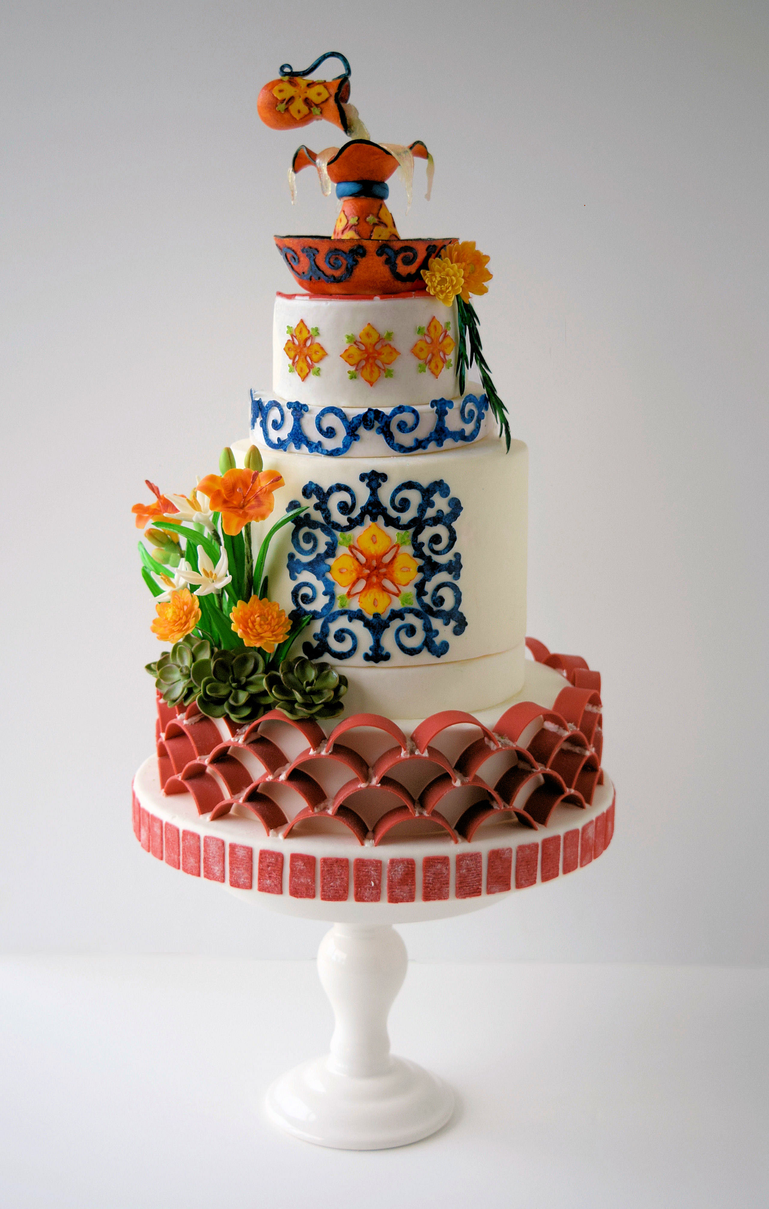 Red and orange themed cake