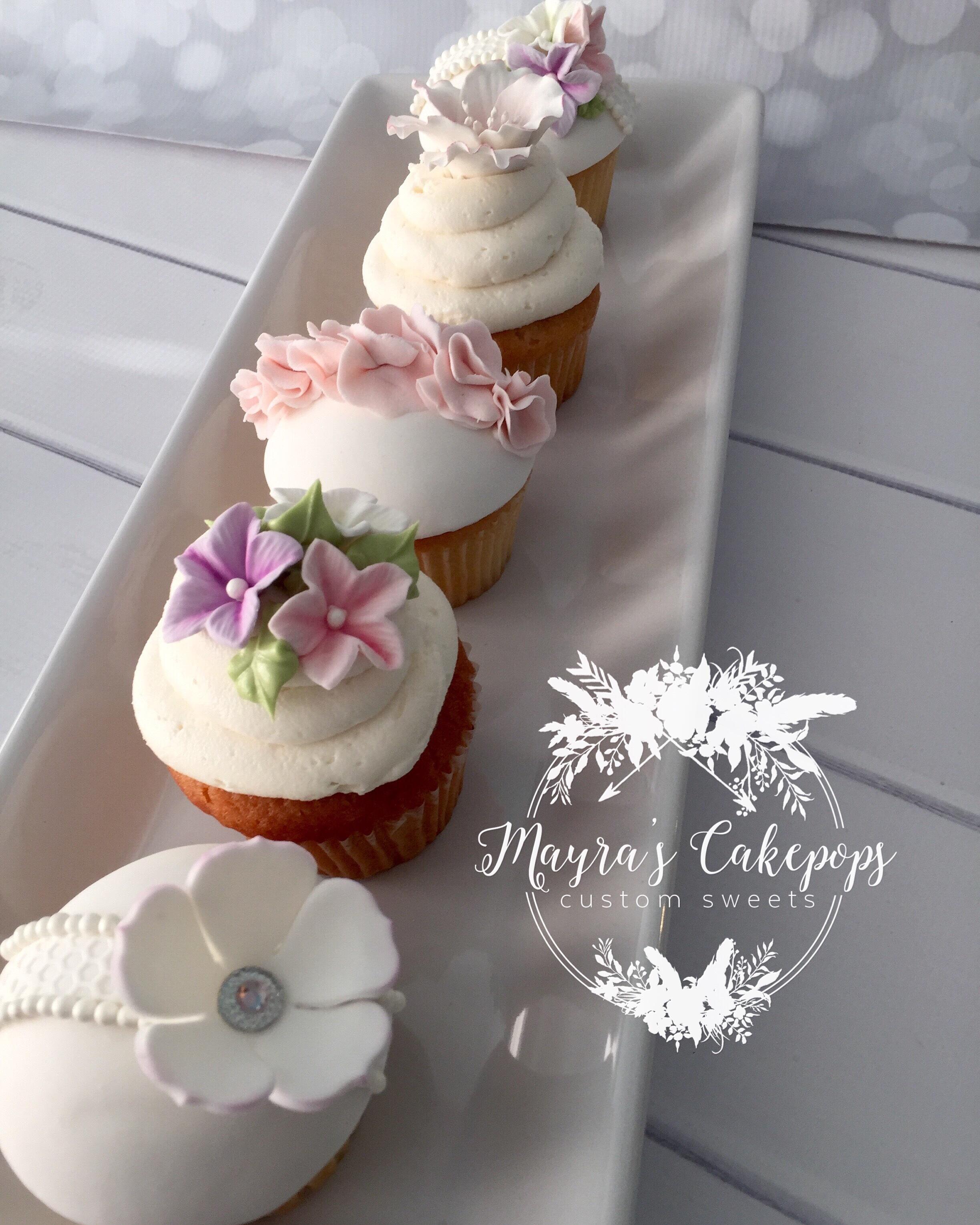 Gum Paste Flower Cupcakes