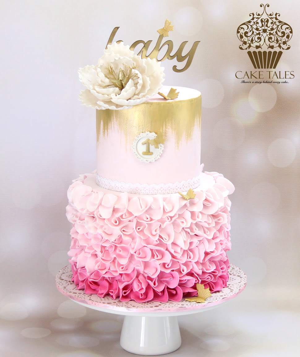 Pink and white ombre ruffle birthday cake