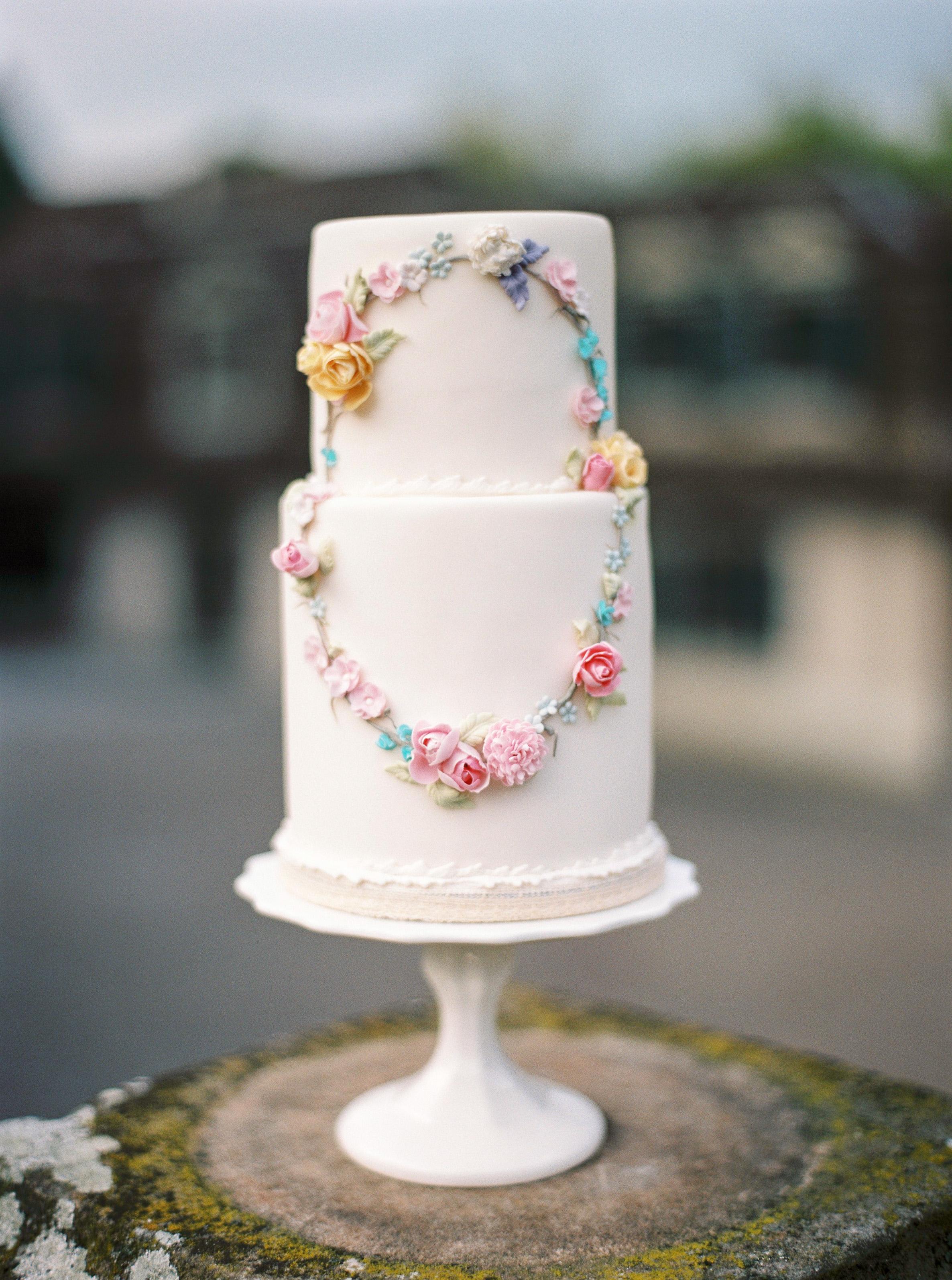 White & Sugar Flower Wreath wedding