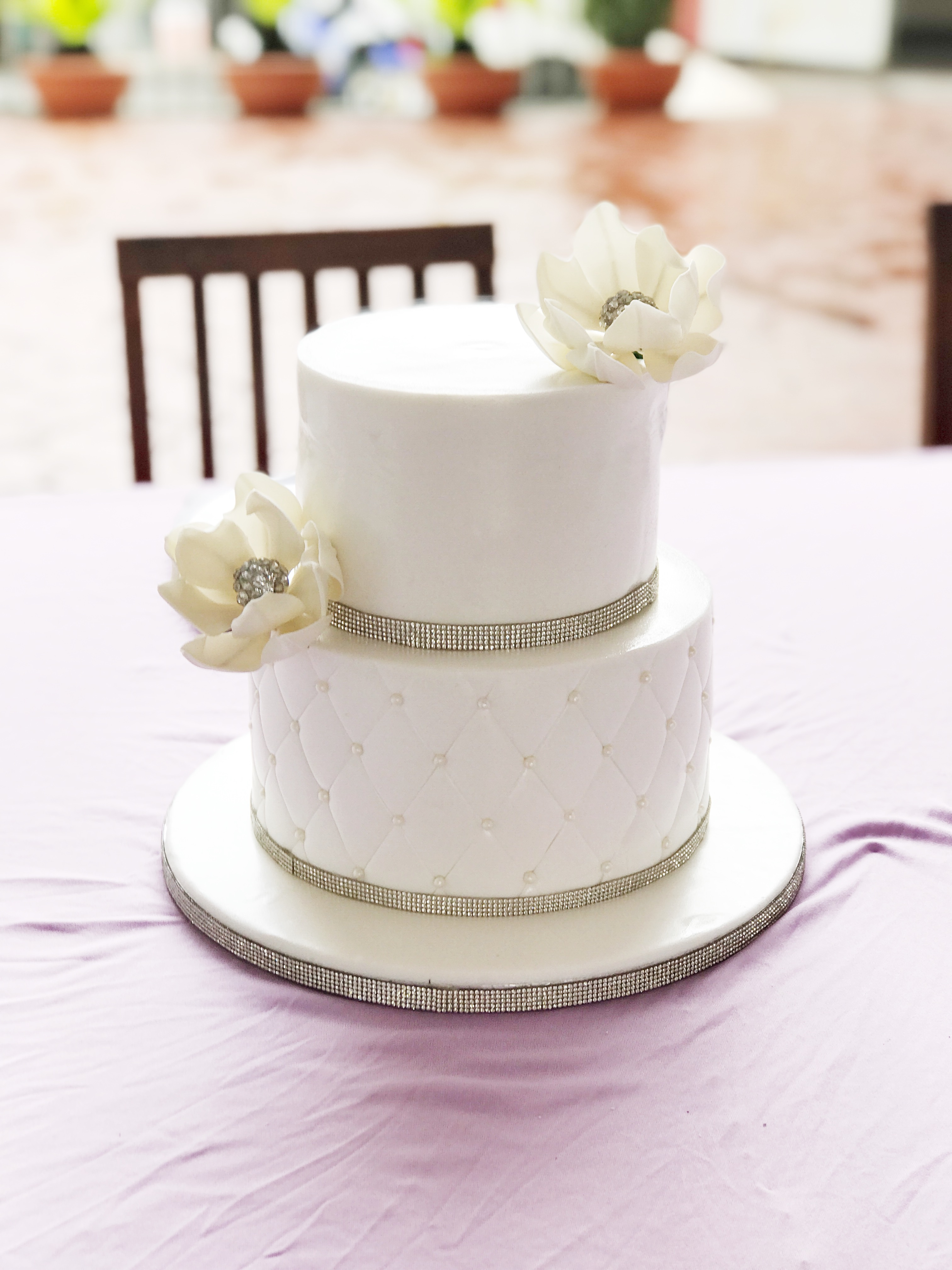 White quilted wedding cake