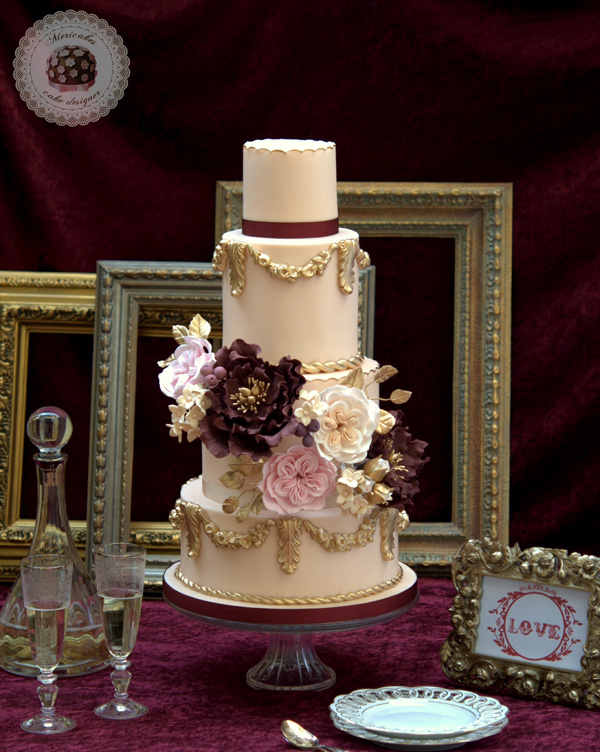 Ivory baroque wedding with dusty rose sugar flowers