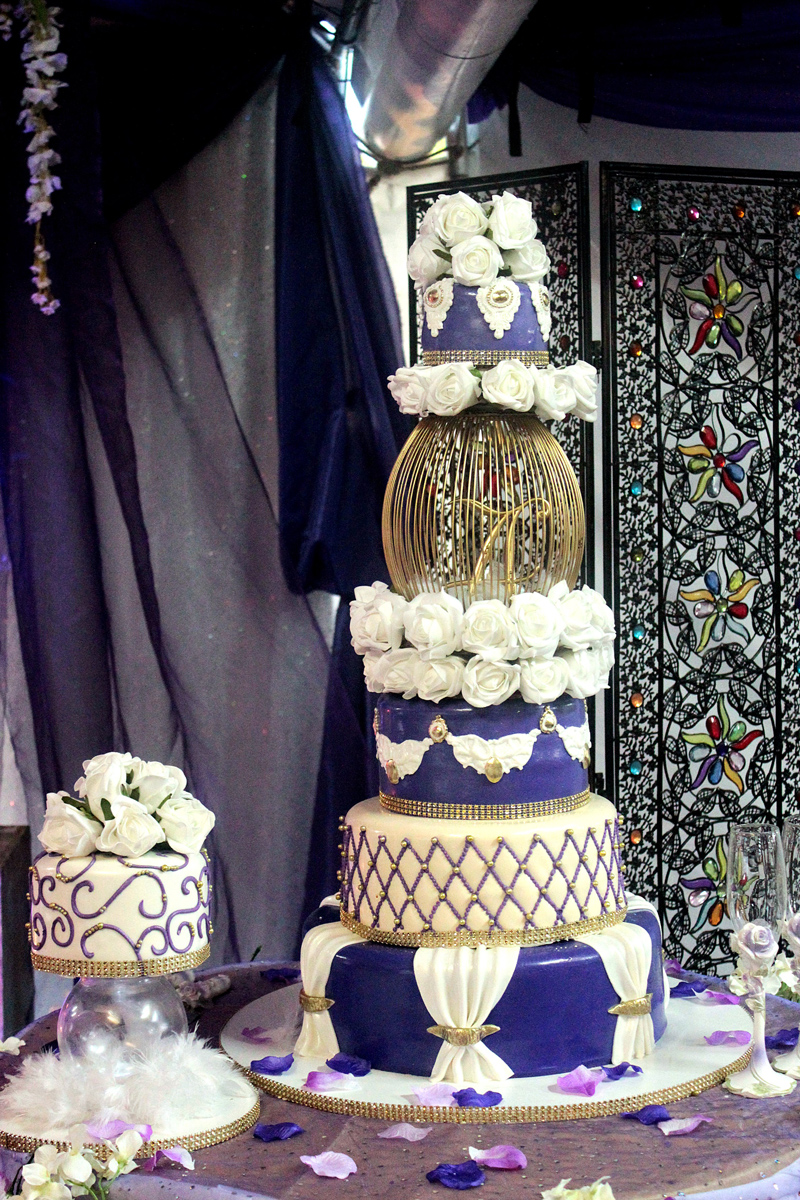 White & Purple Tall Wedding