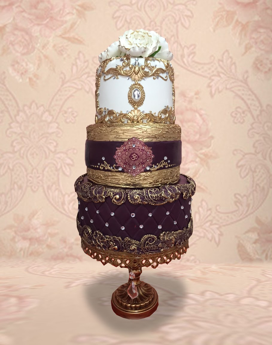 White and burgundy victorian wedding cake