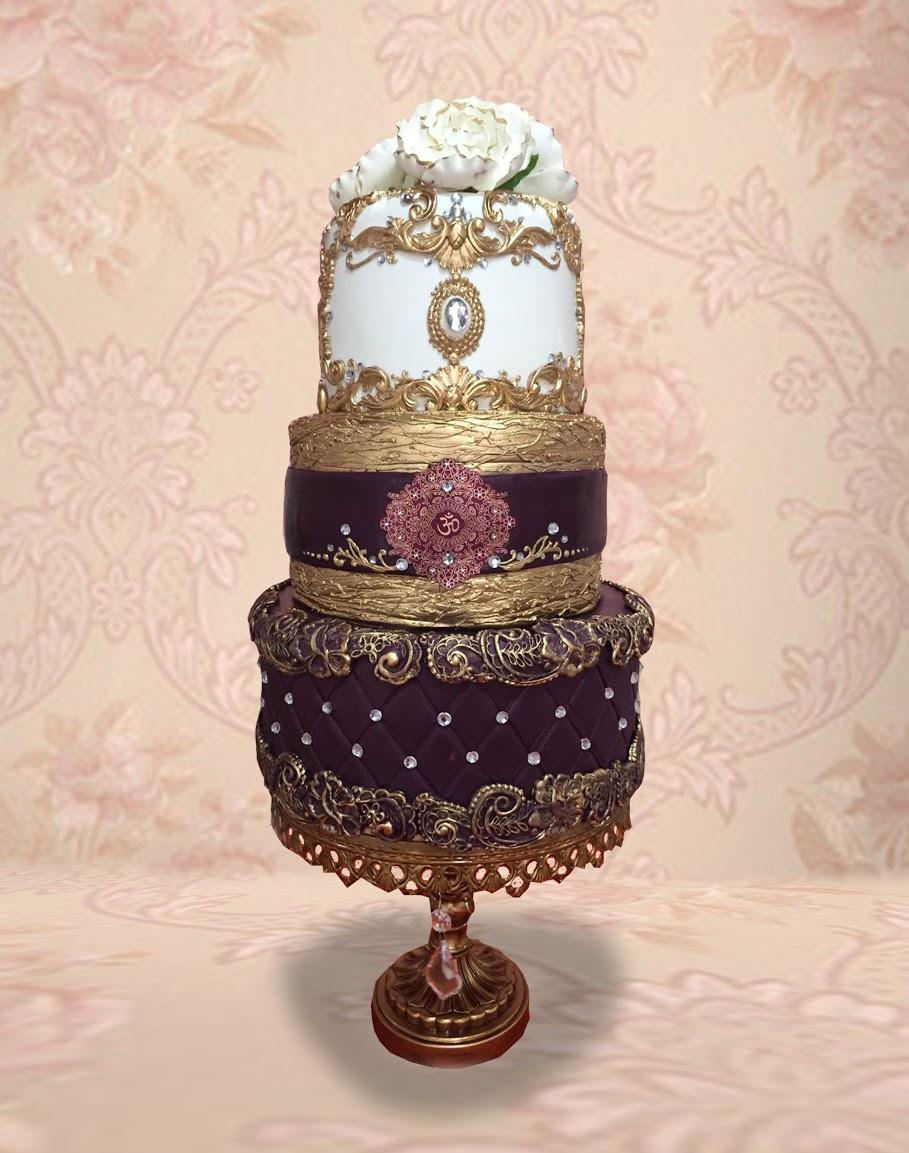 White and burgundy victorian wedding cake