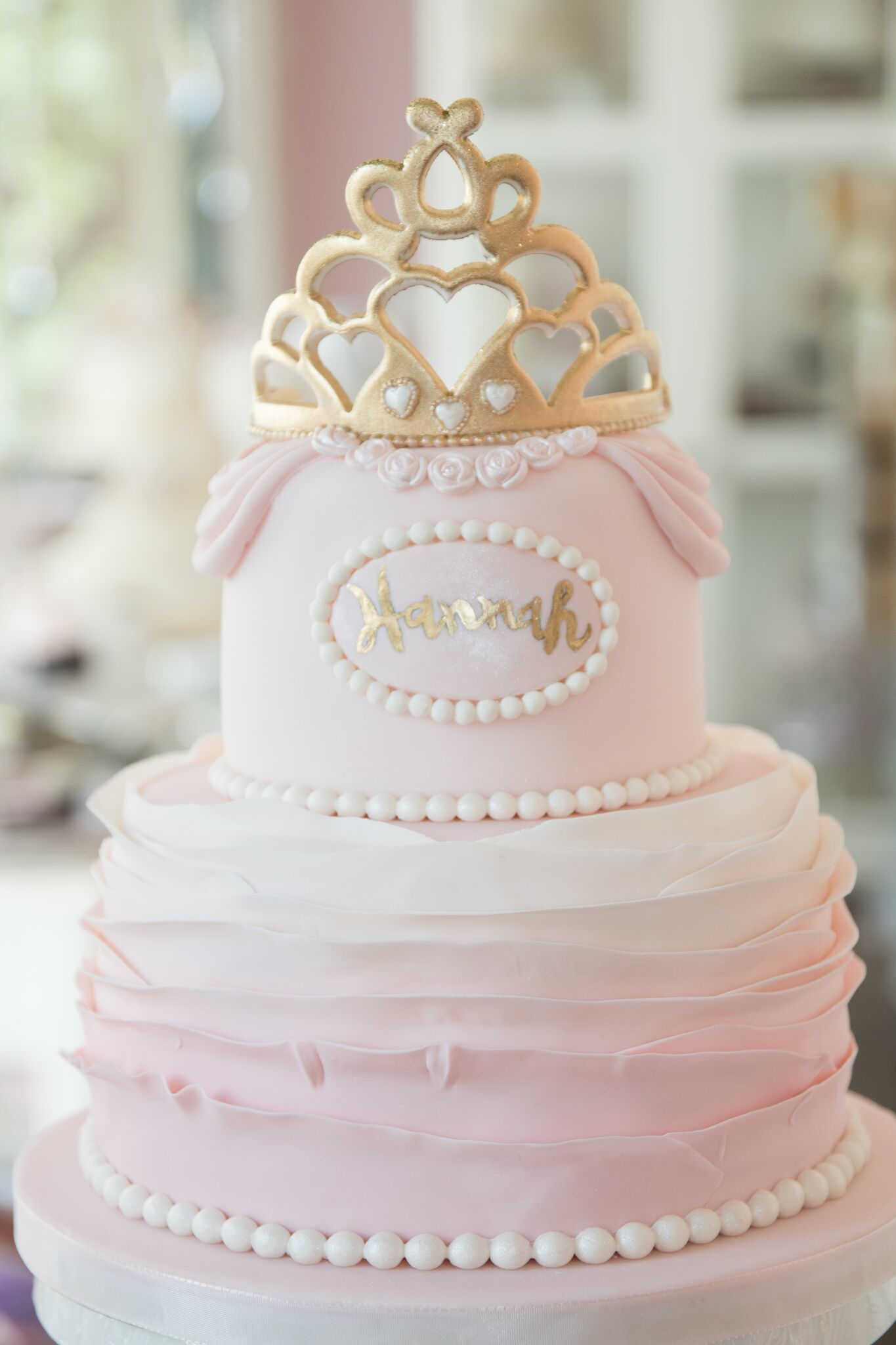 Pink and white ombre ruffle princess cake