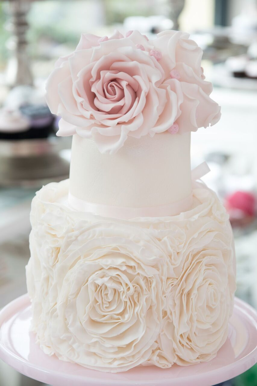 Light Pink rosette wedding cake