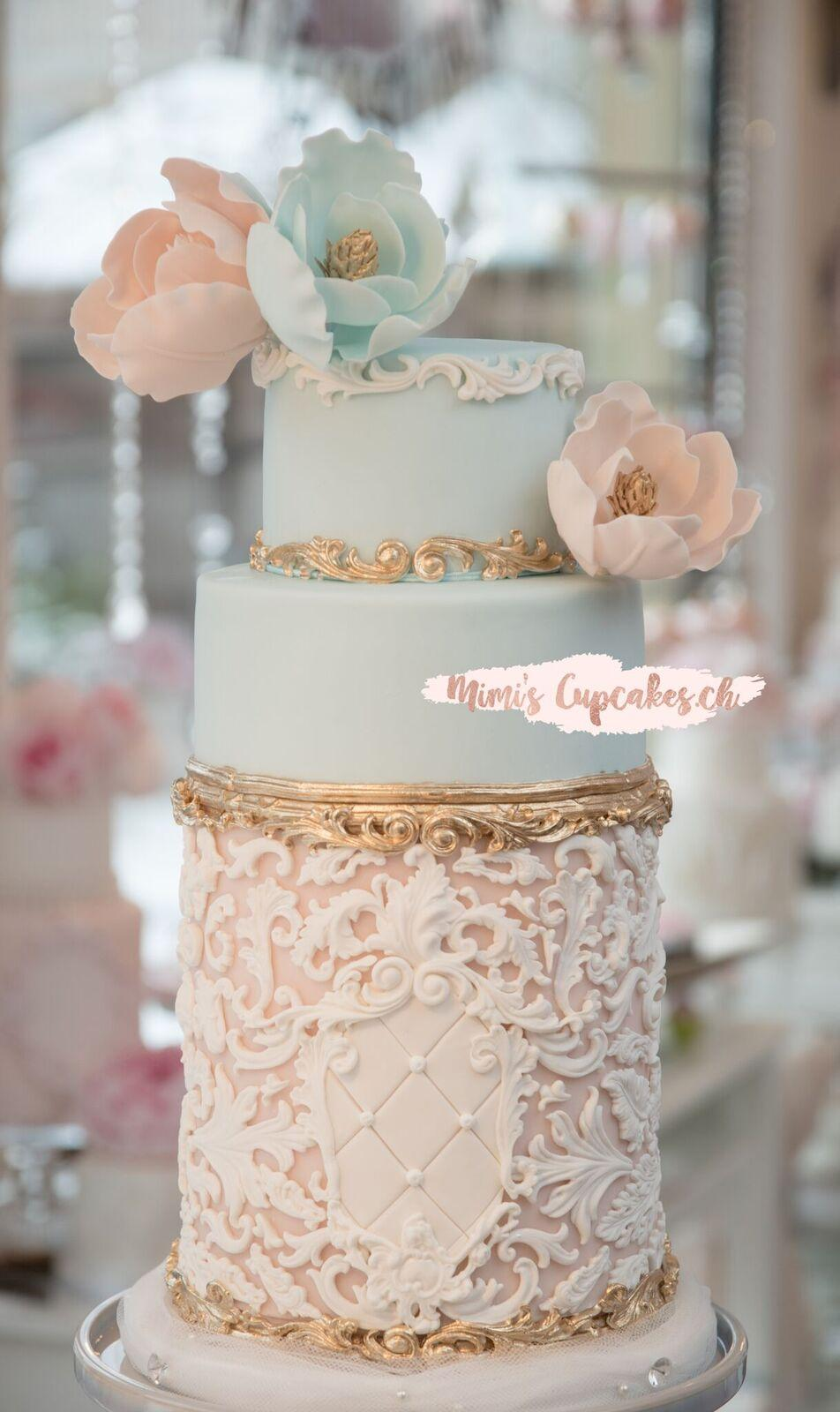 Baby blue and white victorian wedding