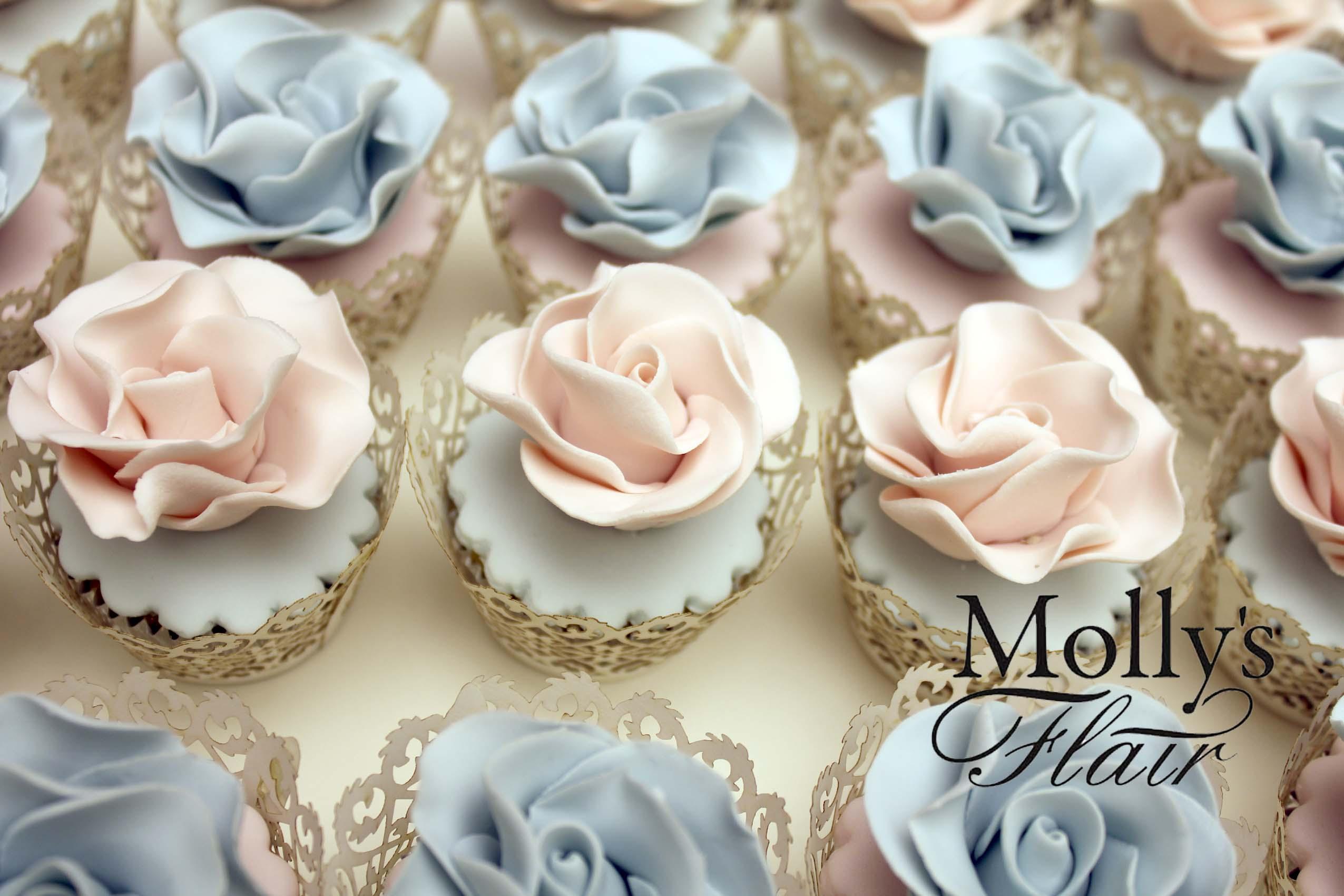 Elegant sugar flower cupcakes
