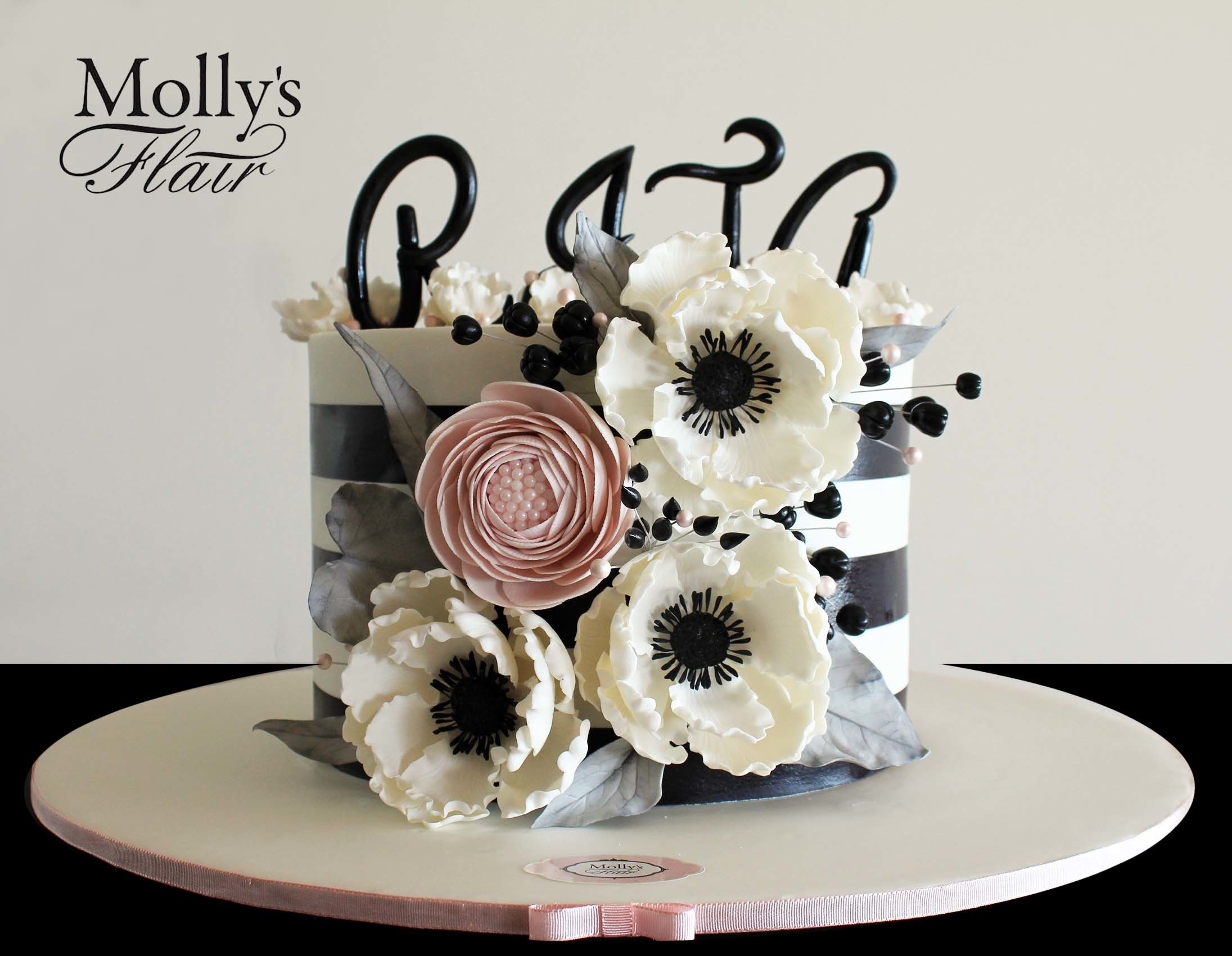 Black and white mini with sugar flowers