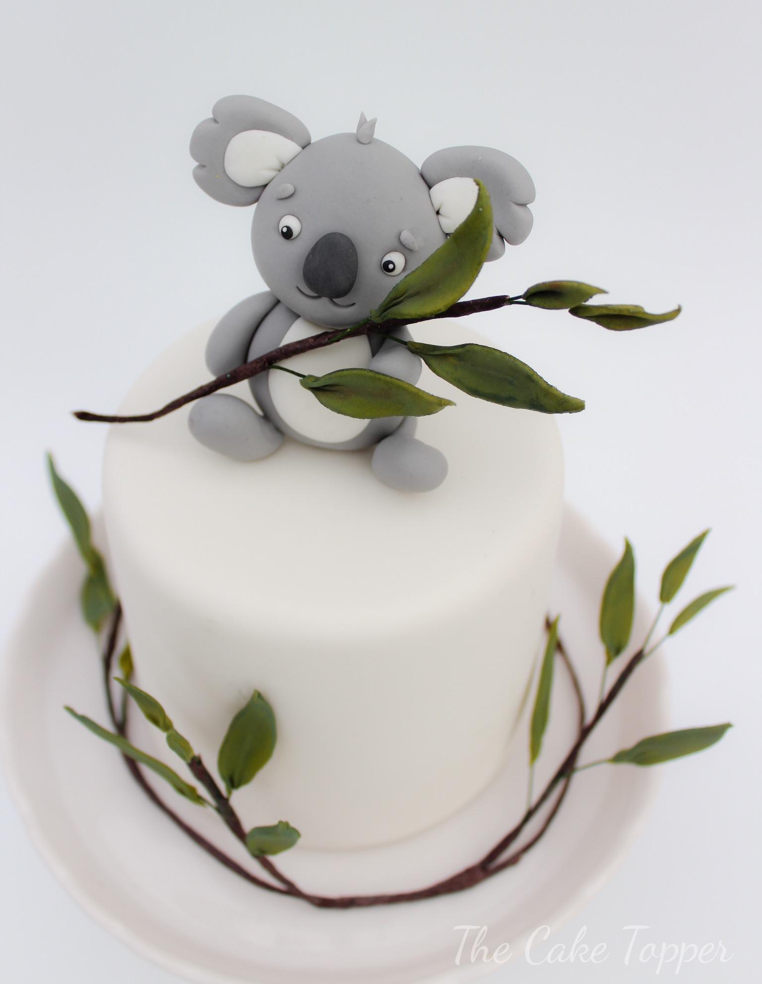 White Mini Baby cake with koala topper