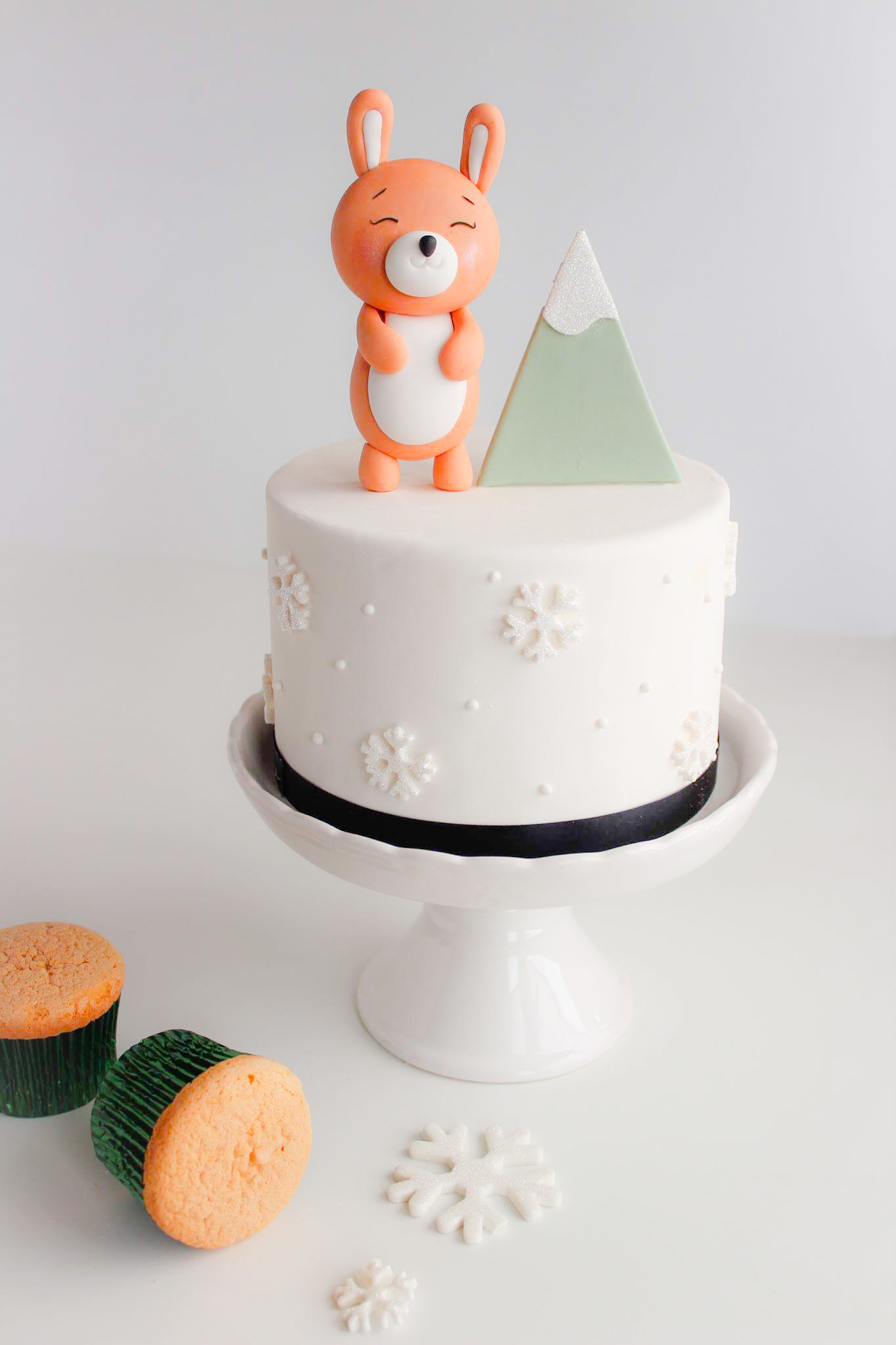 Winter bunny birthday cake