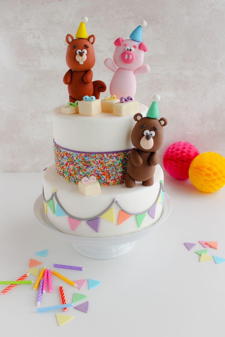 Bear and pig birthday cake