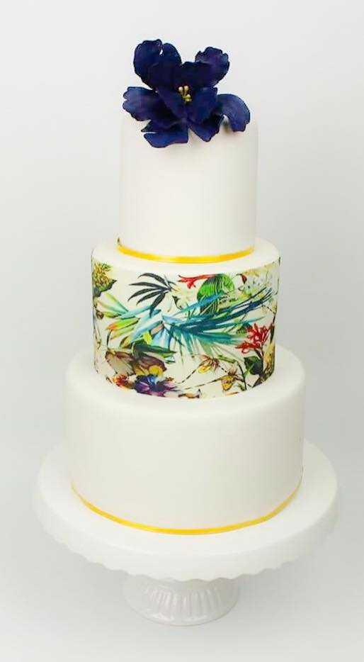 Destination beach wedding cake