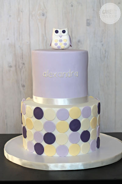 Purple and yellow owl themed baby cake