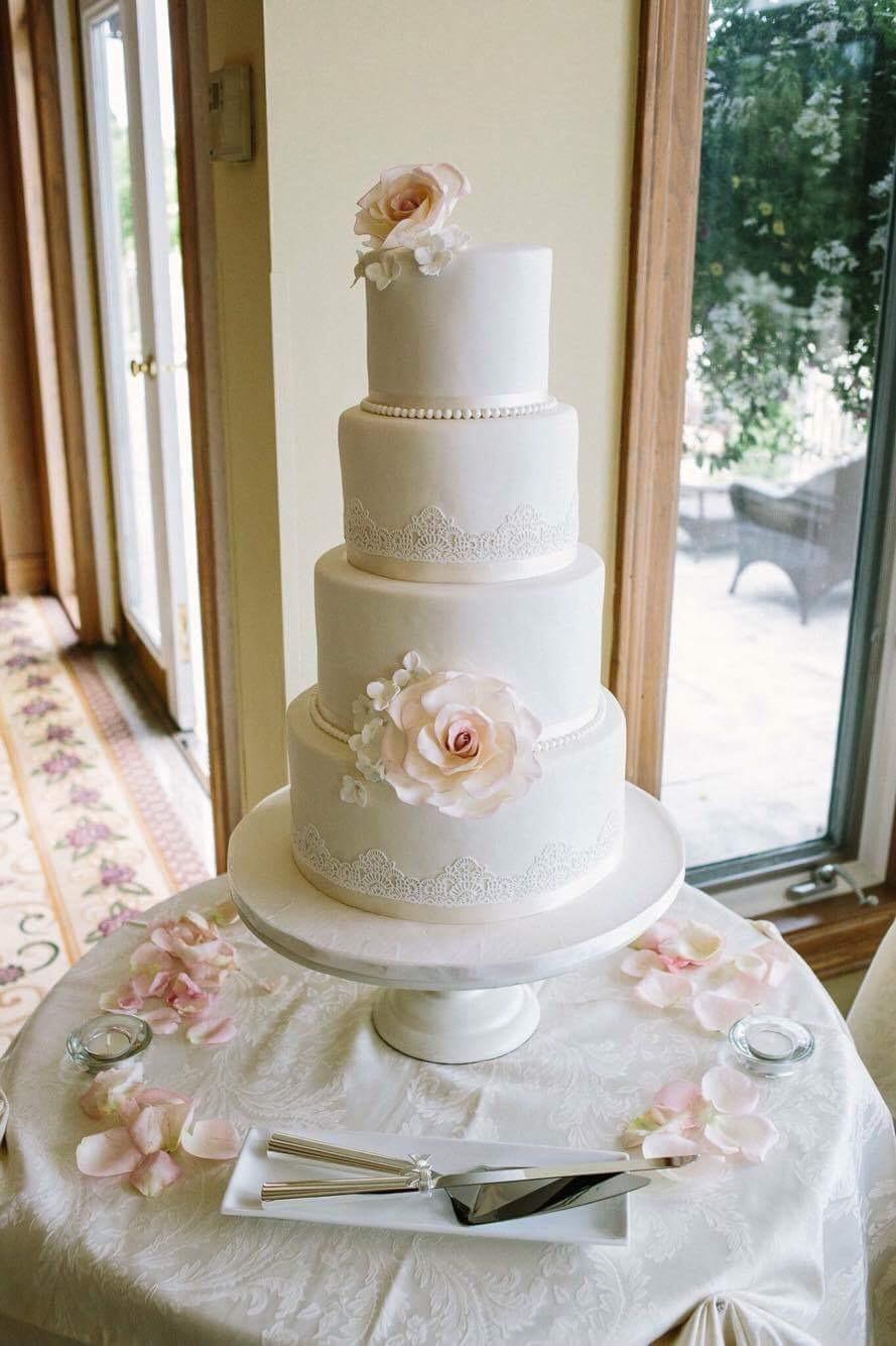 White lace fondant wedding cake