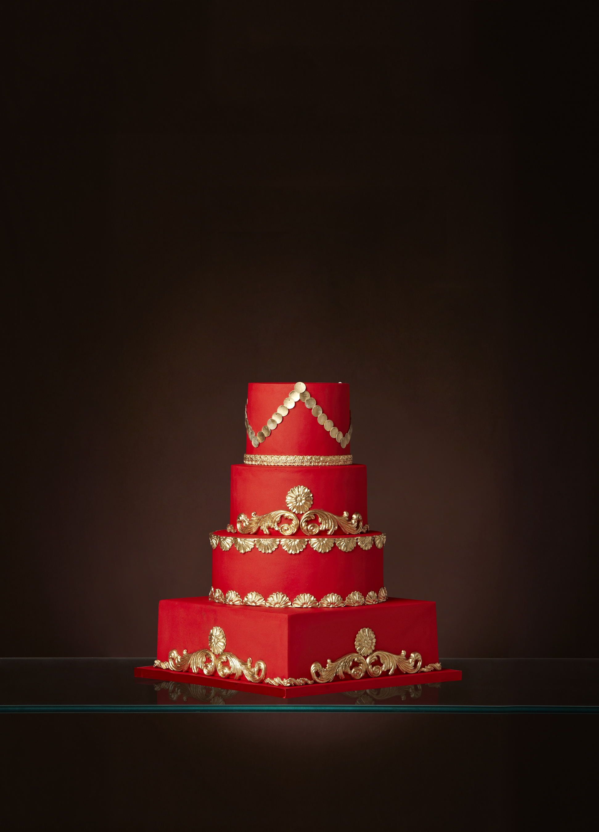 Red Wedding Cake with gold