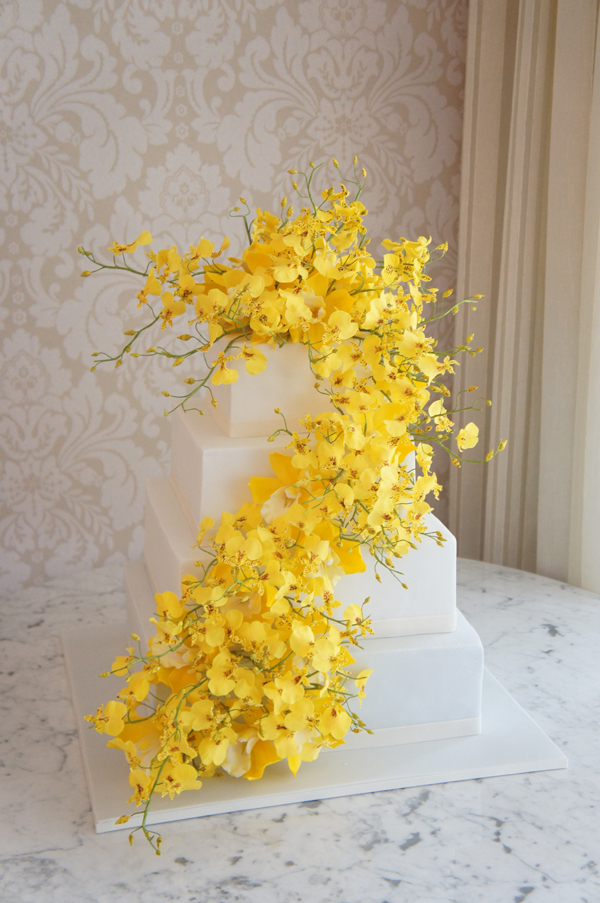 Square with Cascading yellow Sugar Flowers