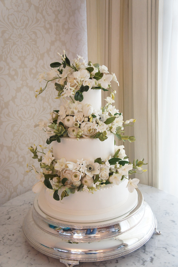 White with Sugar Flowers