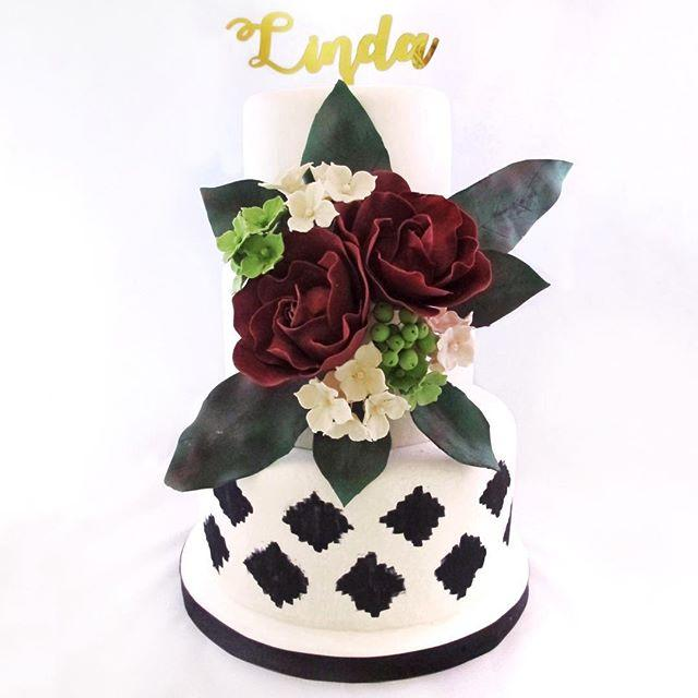Black and white birthday with sugar flowers