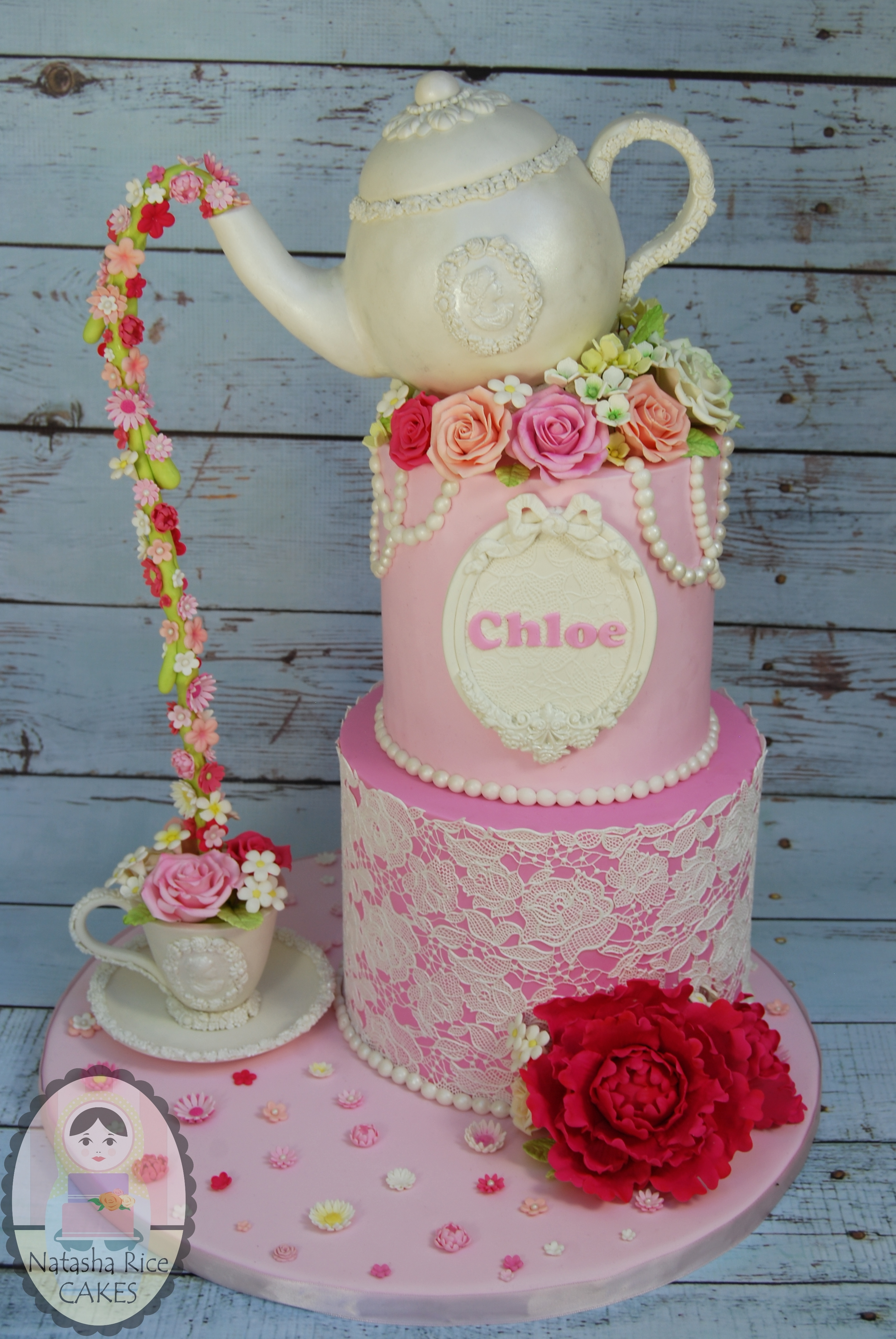 Pink and White teapot Birthday