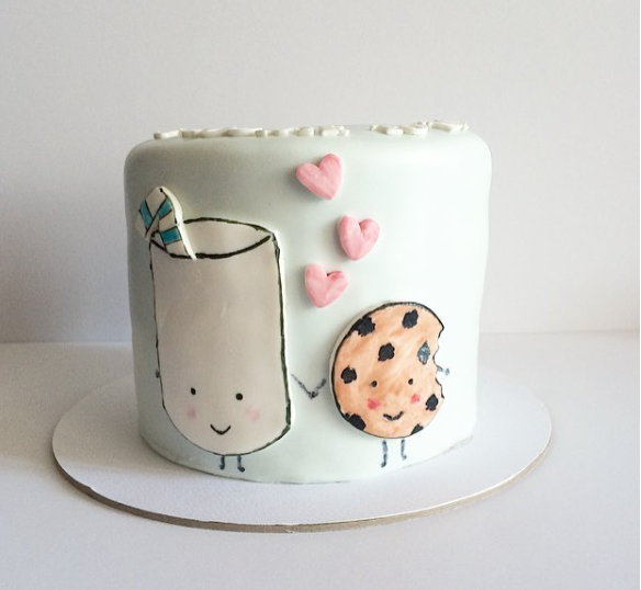 Milk and cookie themed cake