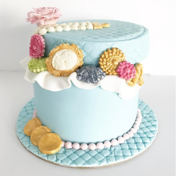 Jewel adorned fondant birthday cake