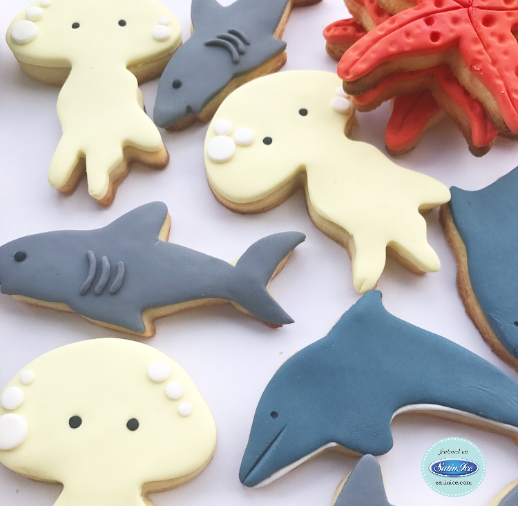 Fondant Shark and Octopus Cookies