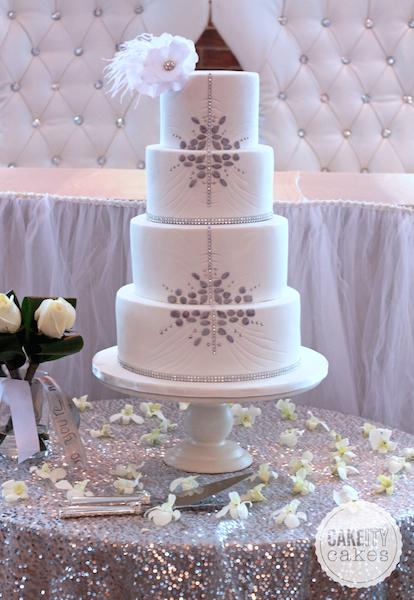 White wedding cake with silver design