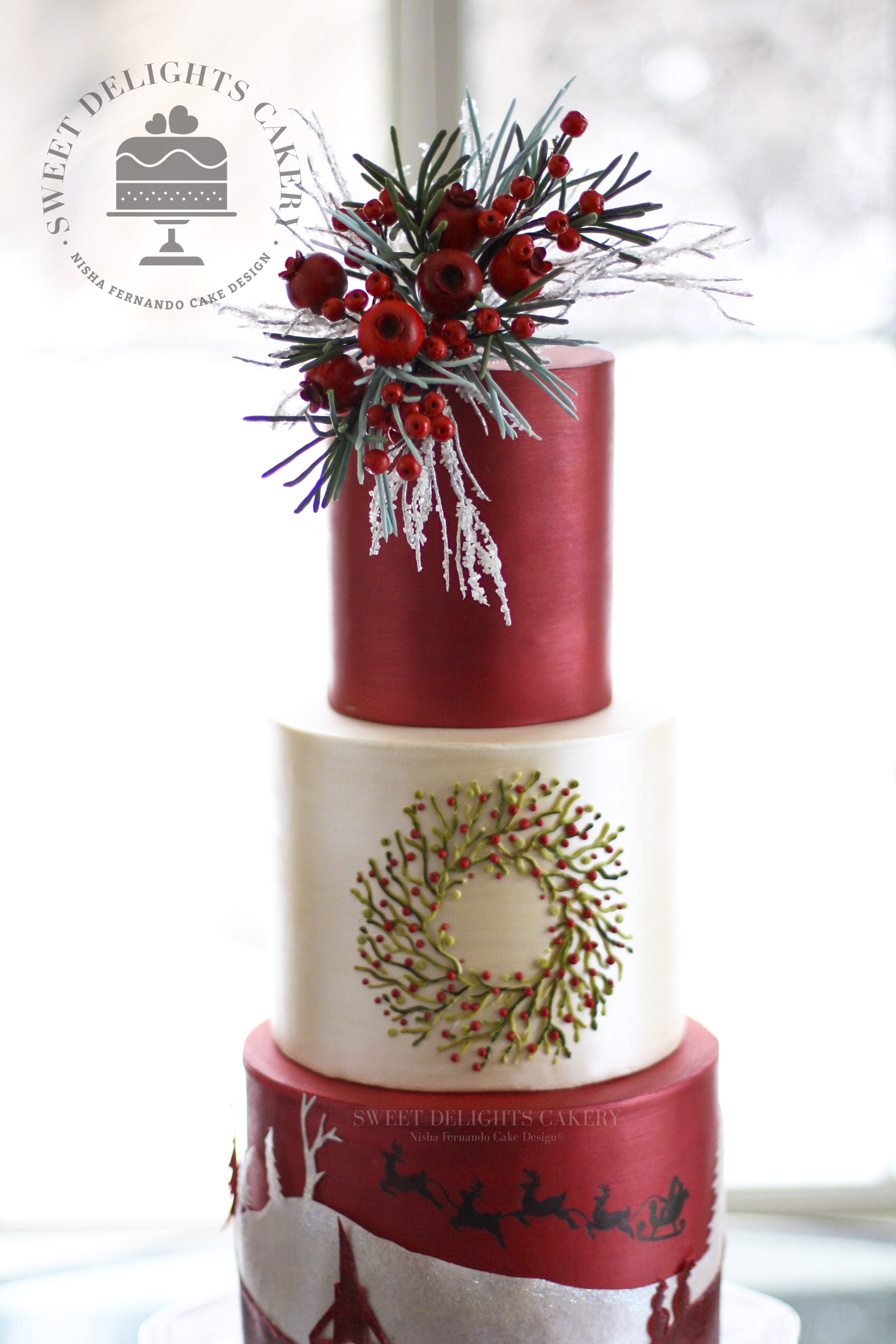 Red and White Elegant Christmas Cake