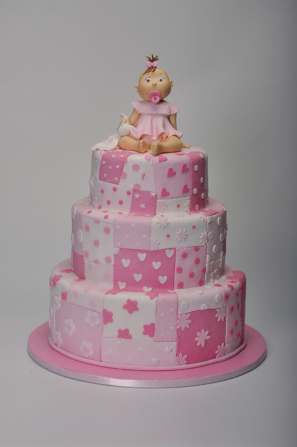 Quilted Baby Girl Cake