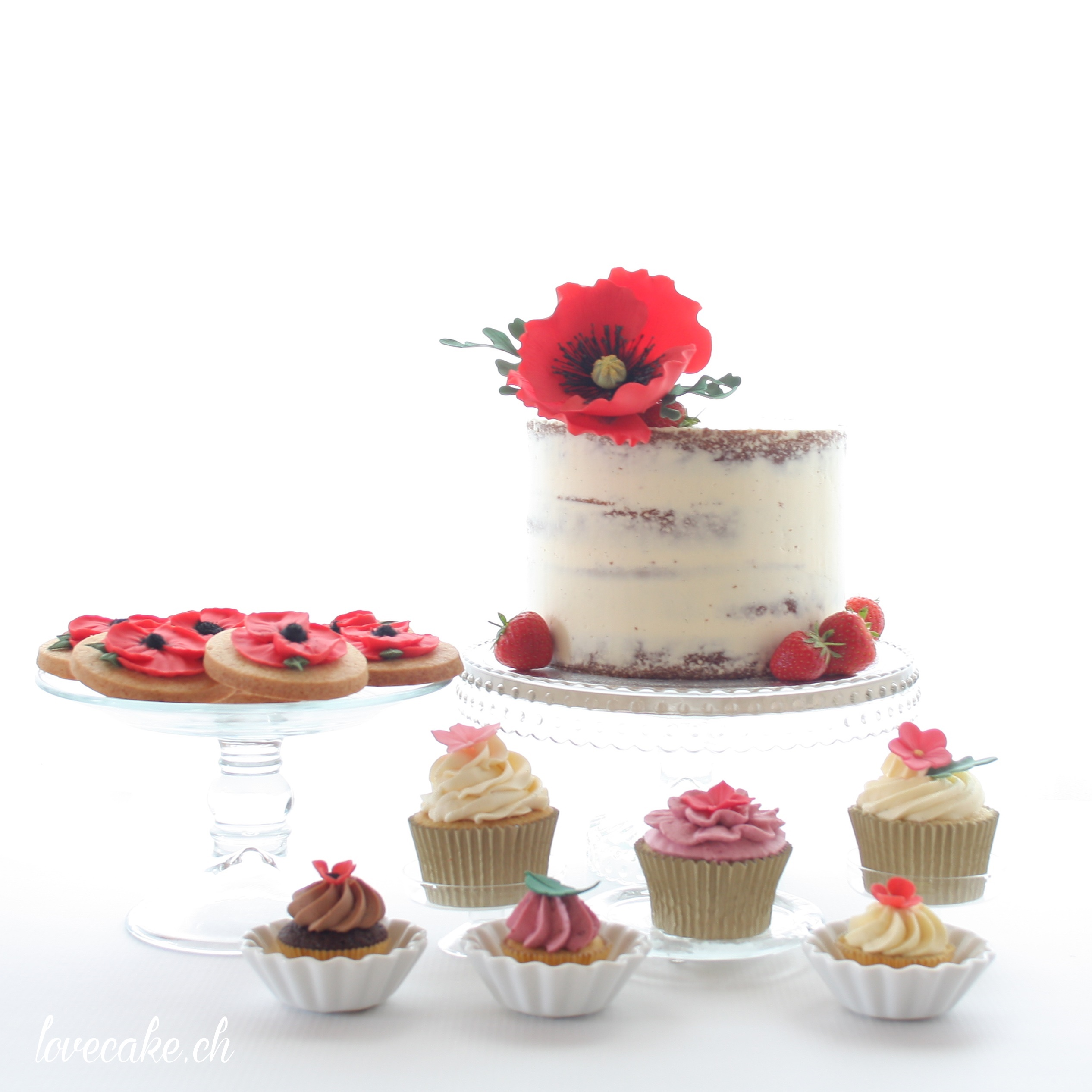 Naked cake and cupcakes with gum paste flowers