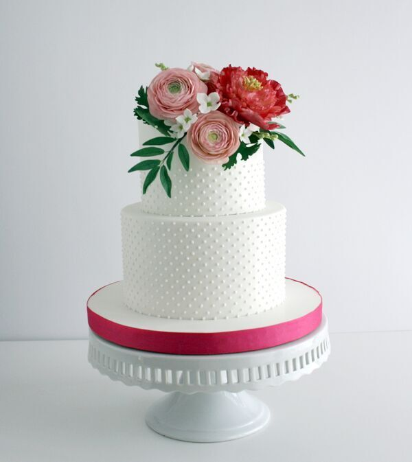 White Wedding with Red Sugar flowers