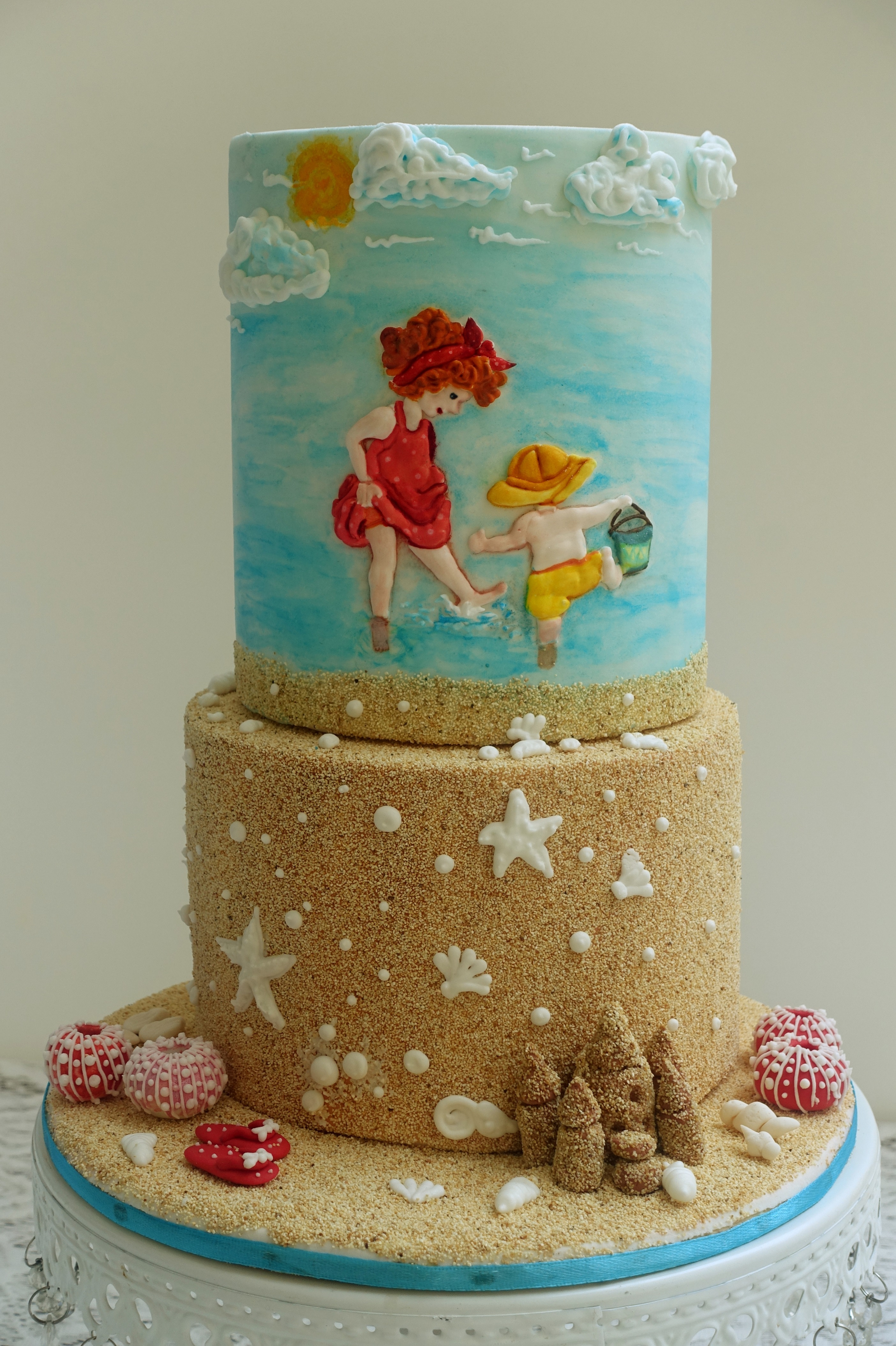 Day at the Beach fondant sand cake