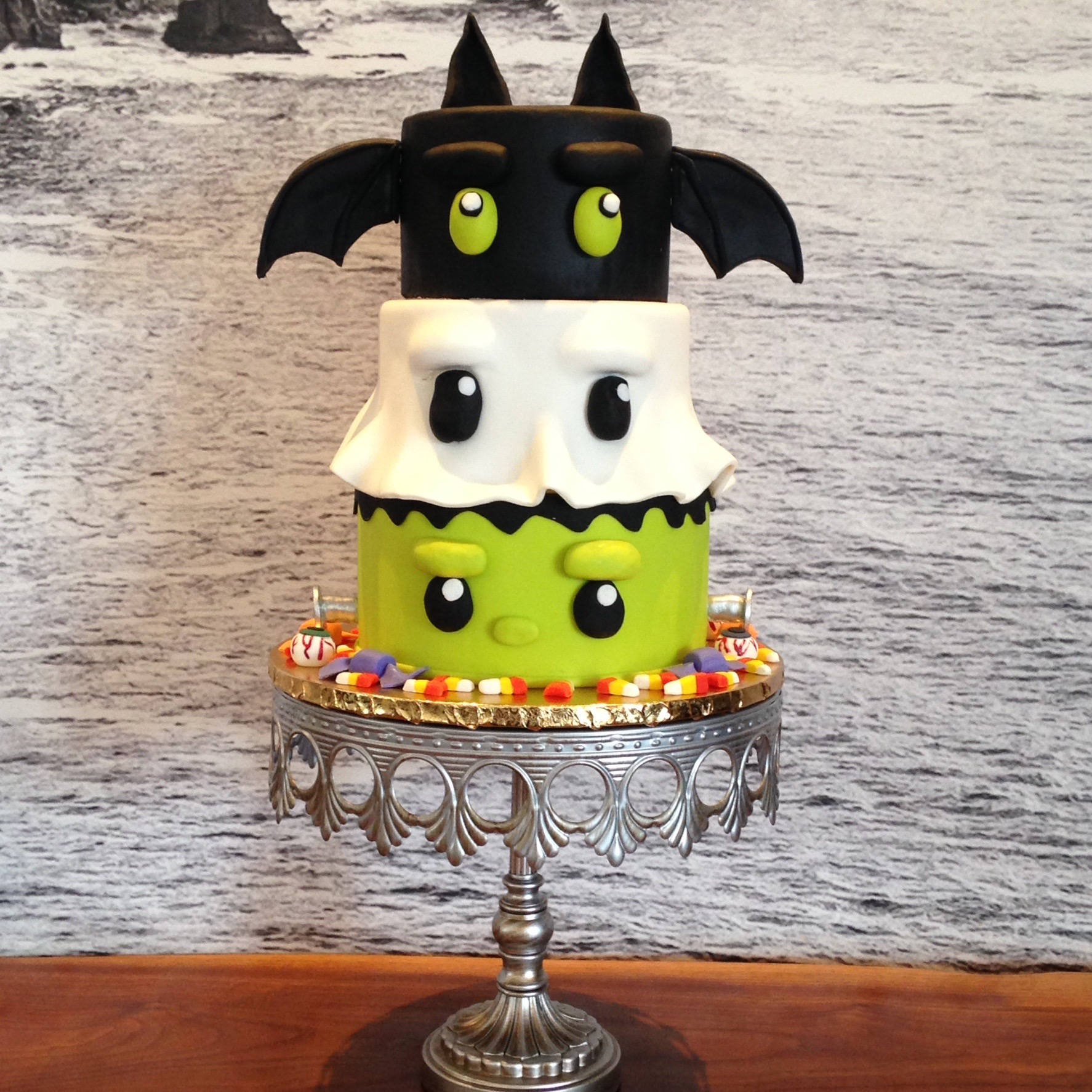 Ghost goblin and bat halloween cake