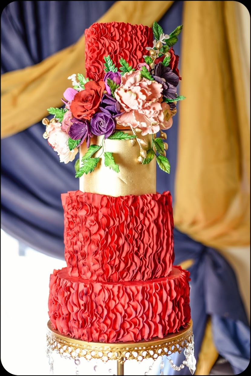 Red & Gold Ruffle Wedding