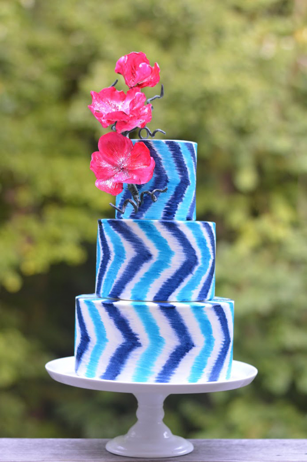 blue Zig Zag Wedding cake