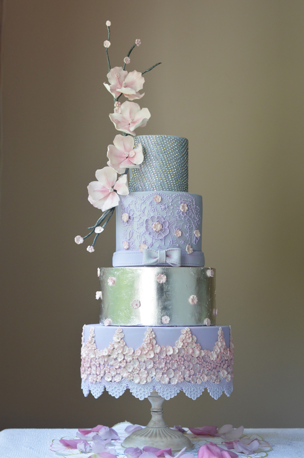 Lavender purple and blue wedding cake