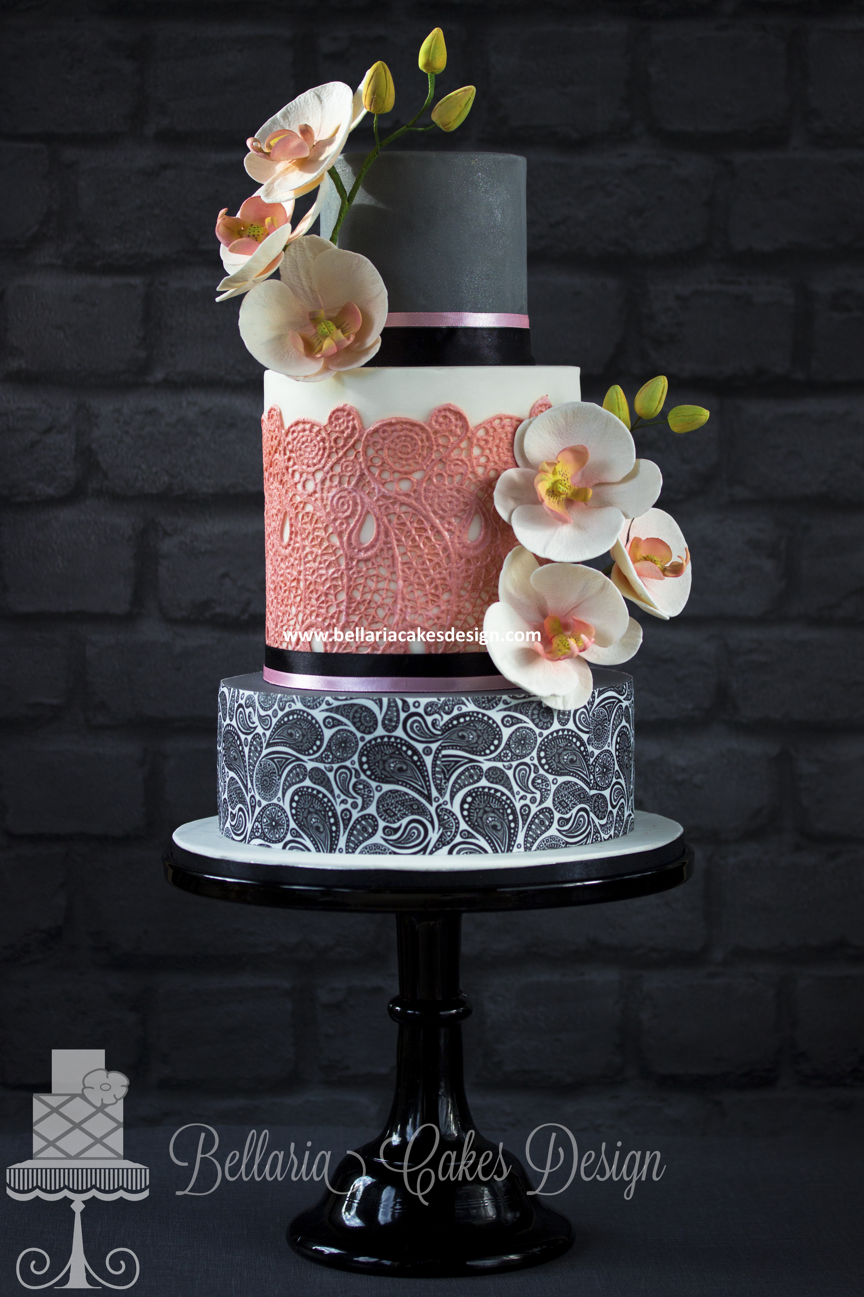 Gray and white paisley wedding cake