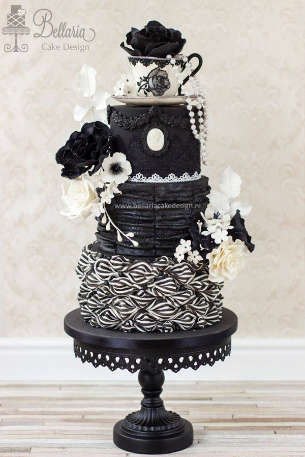 Black and White tea cup themed wedding