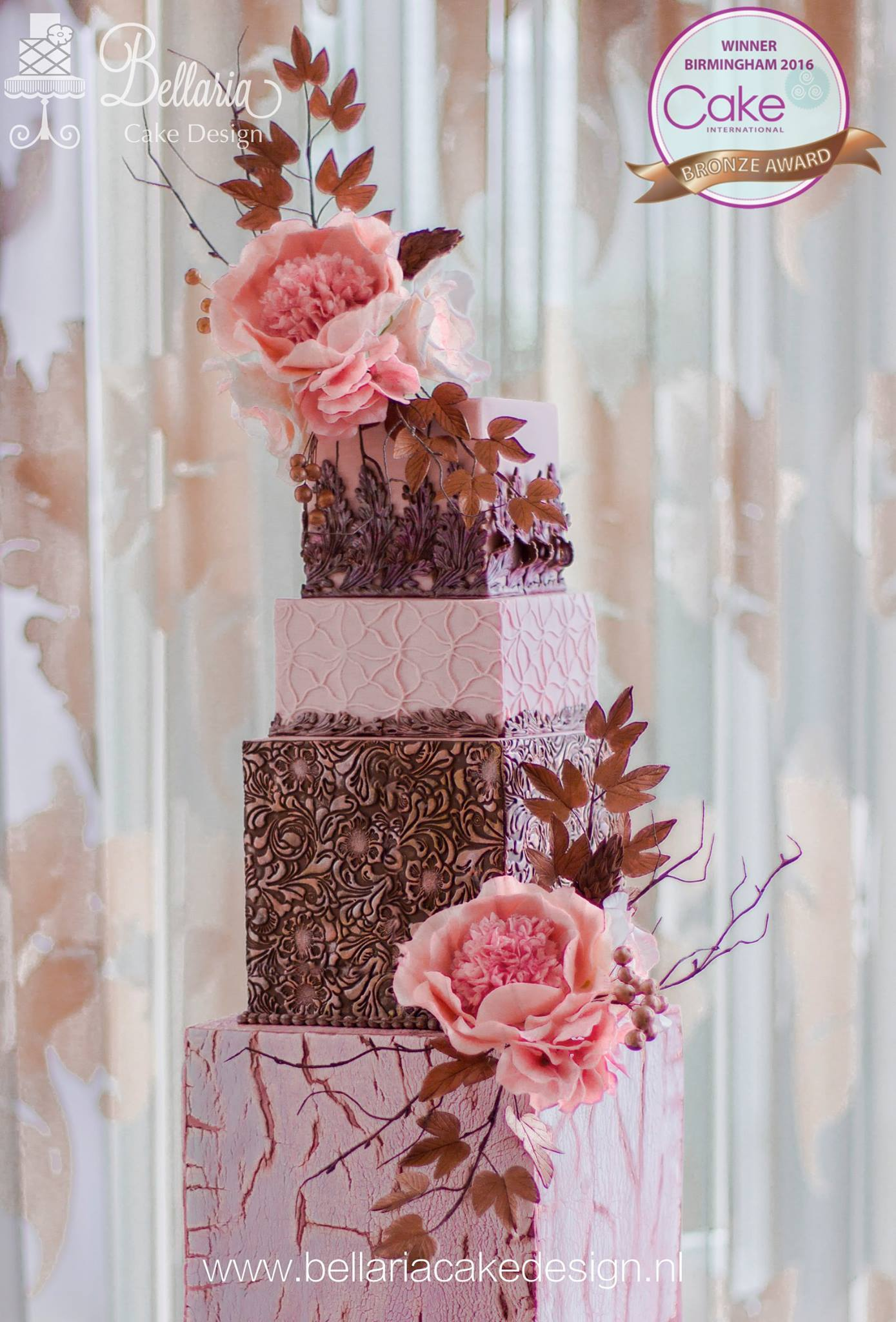 Baby pink square wedding cake