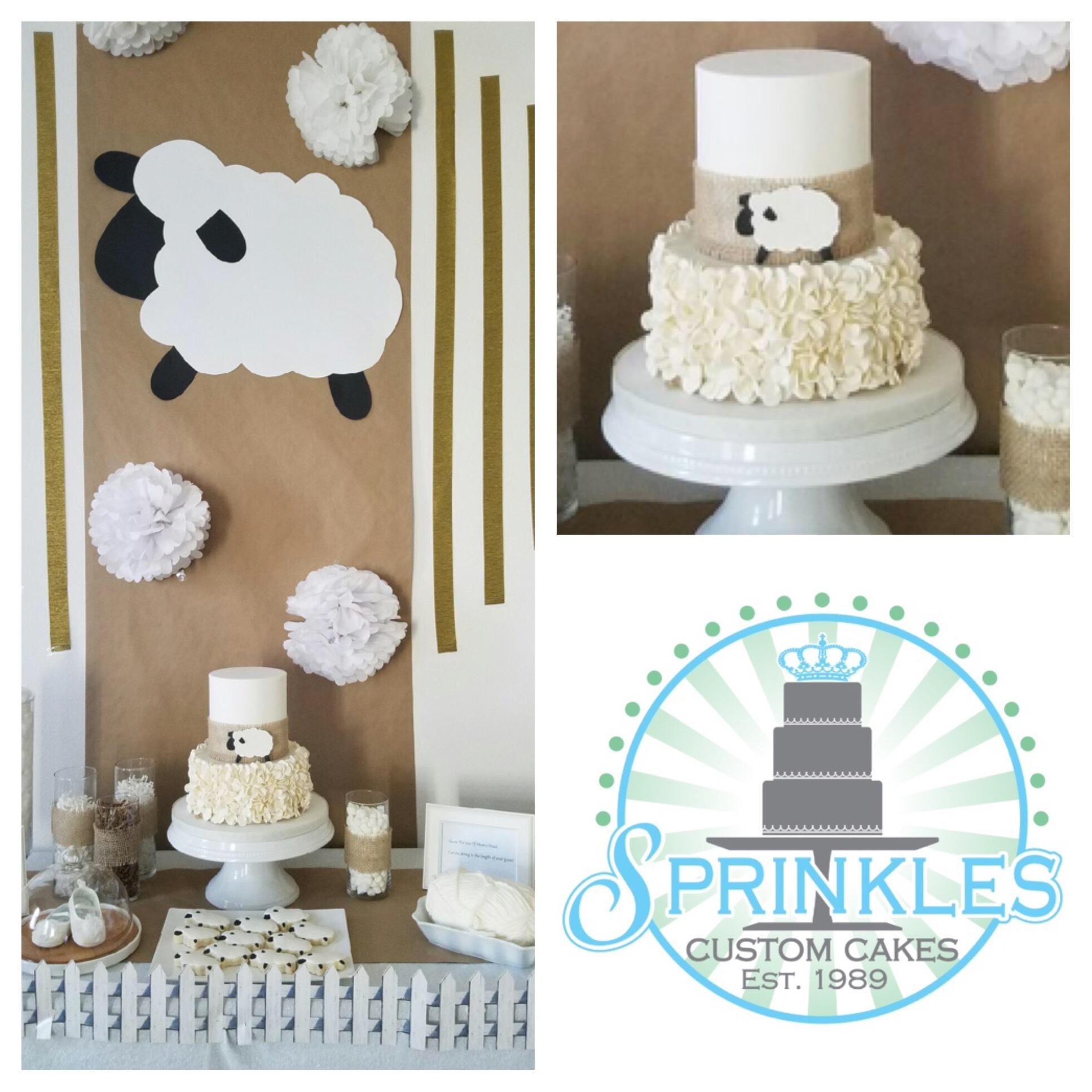 White ruffle baby sheep cake