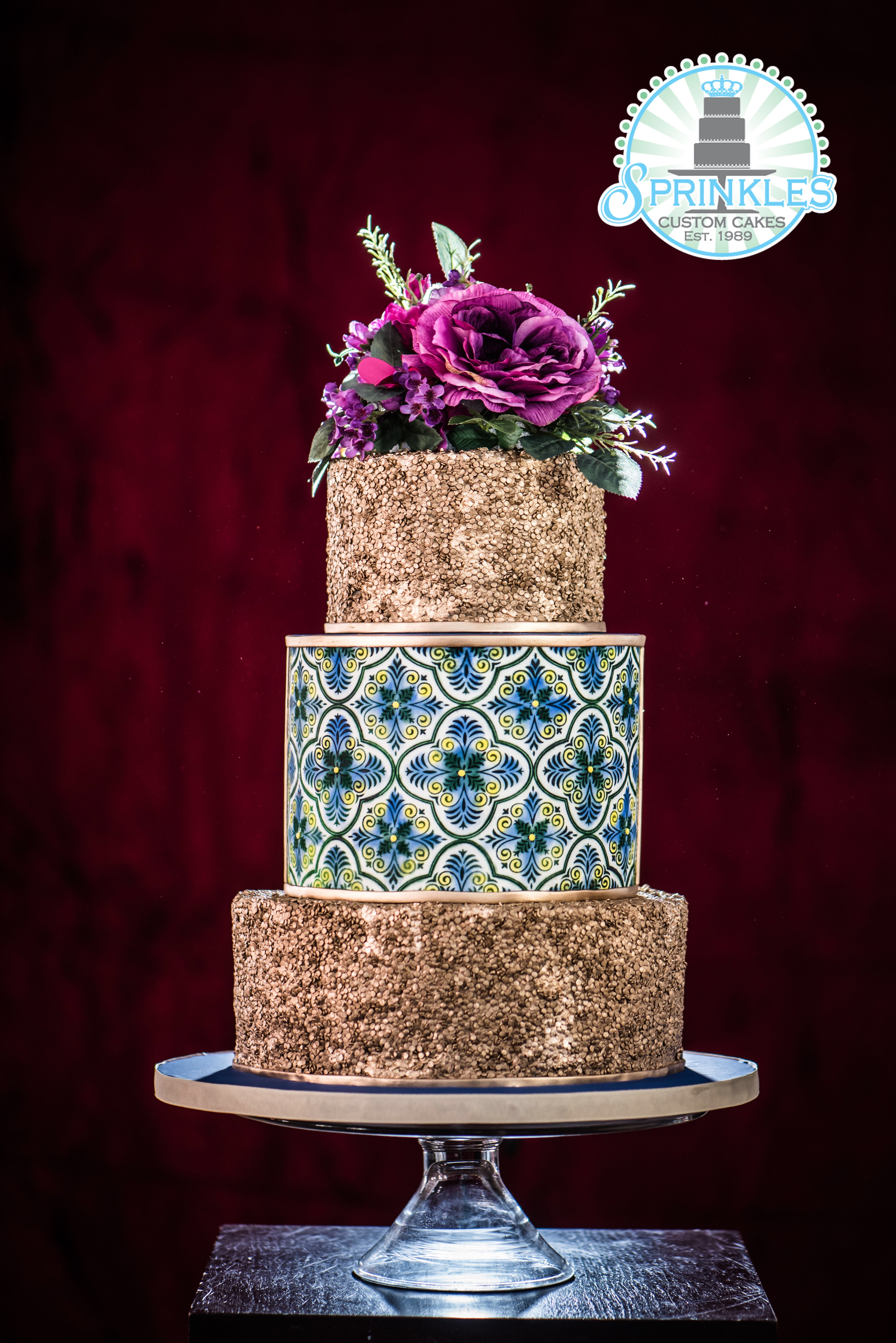 Gold with turquoise pattern wedding