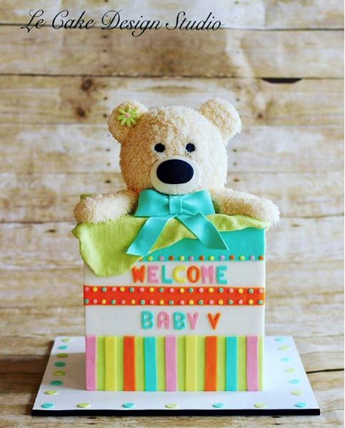 Teddy Bear Neutral Baby Cake