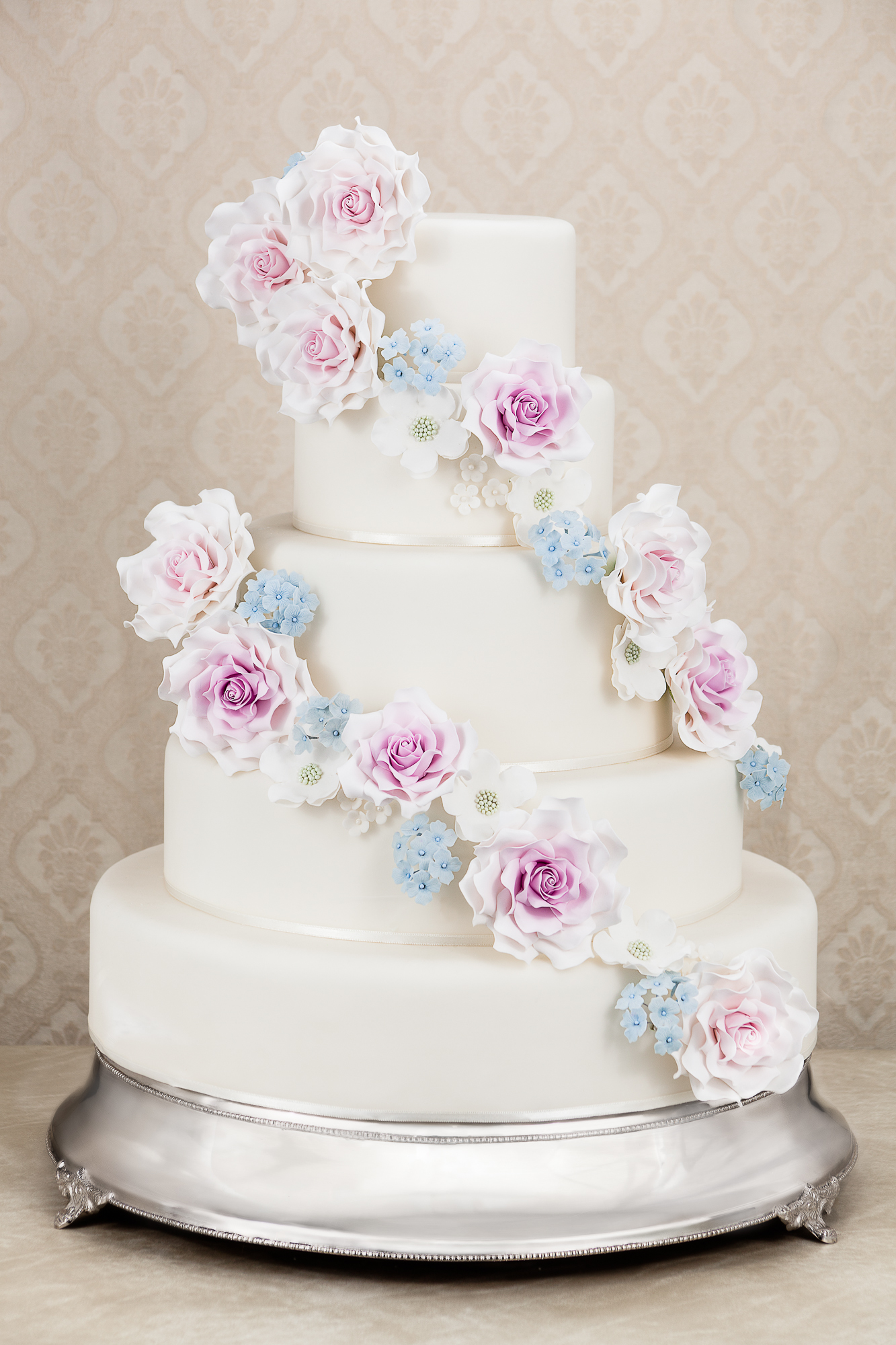 White Wedding with cascading sugar flowers